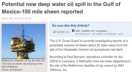 Meldung über eine neue Ölkatastrophe im Golf vom Mexiko mit dem Facebook-Like-Button