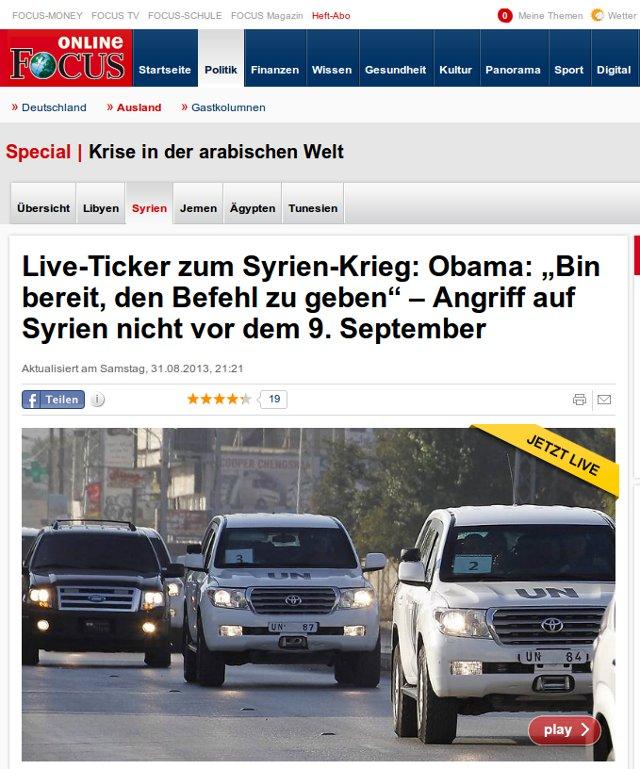 Live-Ticker zum Syrien-Krieg: Obama: Bin bereit, den Befehl zu geben - Angriff auf Syrien nicht vor dem 9. September