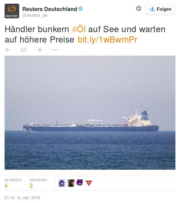Tweet von Reuters Deutschland: Händler bunkern Öl auf See und warten auf höhere Preise